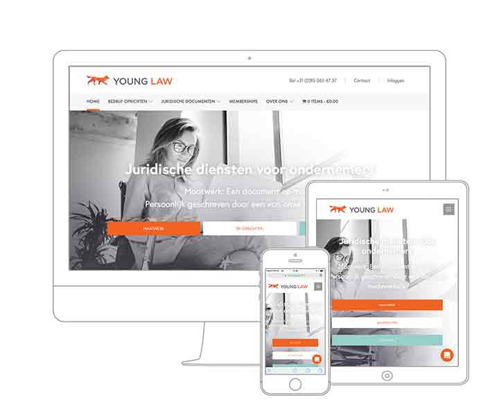 Digital Agency Amsterdam - Qoorts developed the new website for Young Law