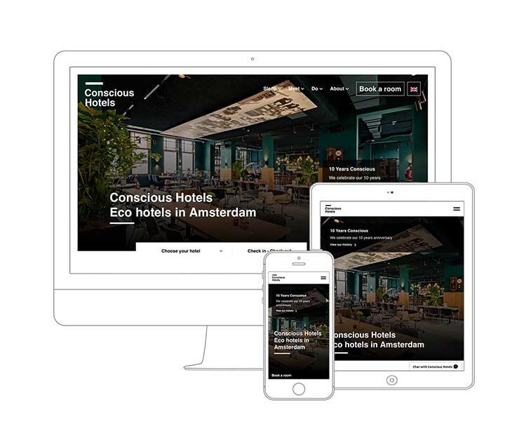 Webdesign Amsterdam - Qoorts ontwikkelde de nieuwe website voor Conscious Hotels